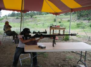 Mia Anstine shooting the .50 Cal