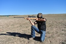 Kneeling shooting position provides a single line of stability for your support arm.