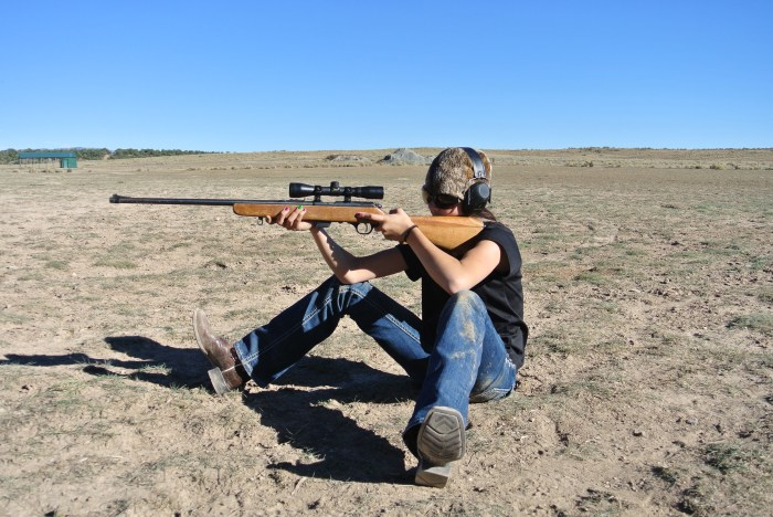 Sitting shooting position provides a triangle of support for your rifle.