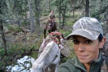 Horseback elk hunt packing out  LG elk