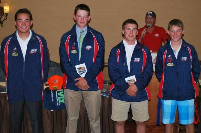 L-R: Nic Moschetti, Hank Garvey, Myles Walker, and Roe Reynolds earned their USA Shooting jackets and positions on the USA National Junior Team. (Perry Hintz photo)