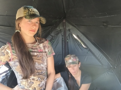 Lea-Mia-sitting-in-hunting-blind